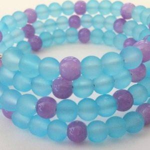 Fun Blue & Purple Summer Wire Wrapped Bracelet